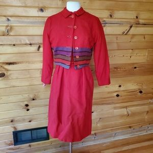 1950s Illegible Tag Red Wool Lined Wiggle Dress &